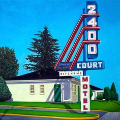 """New painting by artist WILL RAFUSE 2400 Kingsway aka 2400 Court Motel, 2016 """"The adventure began at the Court Motel, Cabin #266."""" Oil on Canvas 30 × 30 inches"""