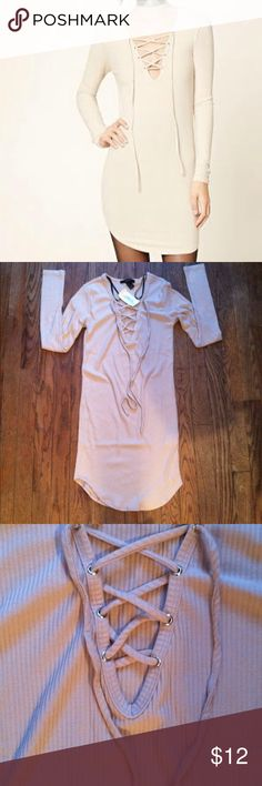 NWT Forever 21 lace up mini dress Small •New with tag •Lace up design •Ribbed and fitted style •Color: Nude •Brand: Forever 21 •Size:Small •NO TRADES Forever 21 Dresses Mini