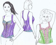 Sewing pattern BUS2 for 2 BUSTIER Corset style by by Merckwaerdigh in Dutch - English - German €11.50