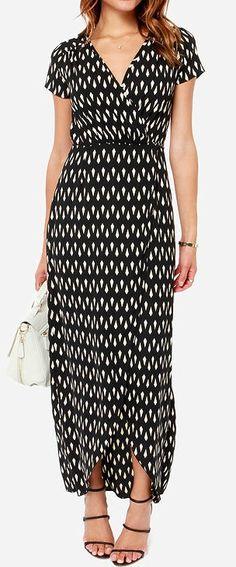 Shapes Travel Beige And Black Wrap Dress