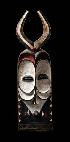 Africa   Male masks with horns from the Bembe people of DR Congo   Wood, pigment   ca. 1960 - 70s