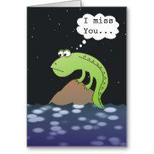 I miss You Sad Lizard Greeting Cards