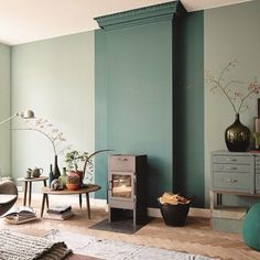 The chalky shades of green provide the colour, while the stylish parquet oak floor provides the pattern and texture. All the bases are covered here.