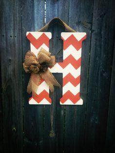 Chevron Monogram Door Hanger with Burlap Bow and Flowers