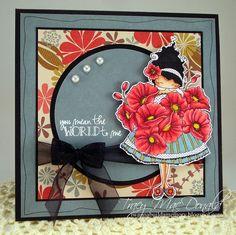 Stamping Bella Lulu Loves Poppies. SU Whisper White & Basic Black card stock. Hampton Arts KI Memories Autumn Flowers dsp. SB Circle dies. Black ribbon, pearl accents. Copic: skin E000, E00, E11, E13, R20, R22 - dress and shoes BG72, YG93 poppies R43, R46, R59, Y19
