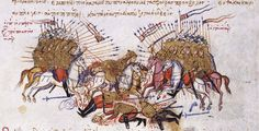 Clash between Byzantines and Arabs at the Battle of Lalakaon (863) and defeat of Amer, the emir of Malatya;  Chronikon of Ioannis Skylitzes, end of 13th century. Chronicle of John Skylitzes, cod. Vitr. 26-2, fol. 73va, Madrid National Library [Source: Varangian Guard - Wikipedia]
