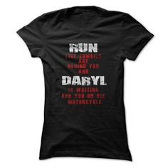 The Walking Dead T Shirt, Run Like Zombies Are Behind You And Daryl Is Waiting For You On His Motorcycle T Shirt