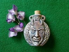 The Green Man, Pan, Cernunnos, A Beautiful High Fired Ceramic Vial / 2 inches tall by 1 3/4 inches wide