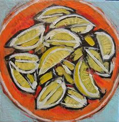 Have a Lemon Party!!!!    Painting measures 8x 8  Made on a stretched canvas, staples on back, ready to hang.  Please contact me for shipping