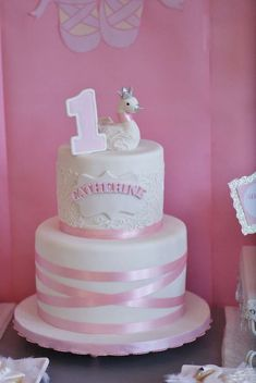 Catherine in Swan Lake 1st Birthday Party | CatchMyParty.com