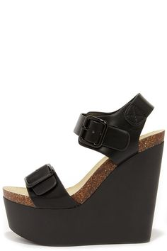 Double Agent Black Platform Wedge Sandals at Lulus.com!