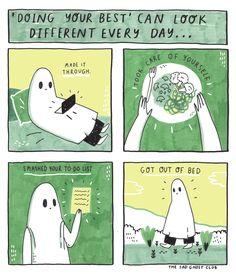 The Sad ghost's sad ghost club. A club for raising positive mental health awareness, through comics and community Positive Mental Health, Mental Health Awareness, Emotional Awareness, All You Can, How Are You Feeling, Ghost Comic, Crps, Do Your Best, Cheer Up