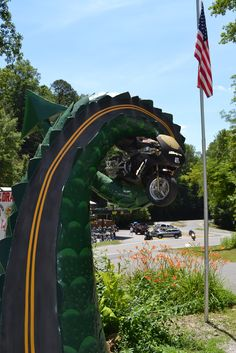 Sculpture of motorcycle wrapped in the Tail of the Dragon, Deals Gap, NC