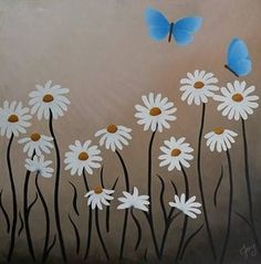 Butterfly Painting Original Daisy Painting On Canvas Modern Art Daisy White Flower Abstract Art Nature White Flower Painting Home Decor