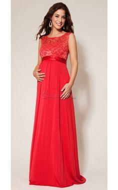 #bridesmaiddresses Long Red Lace and Chiffon Empire Waist Maternity Bridesmaid Dress MDCA-011