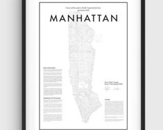 Minimal Manhattan Vintage carte affiche, Poster impression minimale noir & blanc, Art, graphisme Minimal, affiche de Manhattan à New York, carte Home Decor