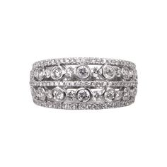 white gold with small diamonds and a thick band engagement ring