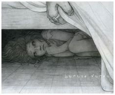 I pulled back the bedclothes and peered under. She looked at me with big, watery eyes, clutching something to her chest.