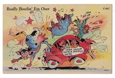 Comic postcard Ray Walters Really Bowlin' Em Over car hits cow pig rooster Ems, Funny Cows, Rooster, Humor, Comics, Cute, Animals, Collection, Animales