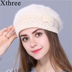 Xthree Winter Autumn beret hat for women knitted hat Rabbit fur beret  solid colors fashion lady cap #xthree #berets #women_berets #stylish_berets #style #fashion