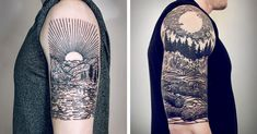 Lisa Orth's signature style depicts mythical nautical and landscape scenes which look as though they could have been woodblock-printed onto the skin.