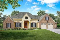 French Country House Plan With Split Bedrooms and a Bonus Room  - 51752HZ | 1st Floor Master Suite, Acadian, Bonus Room, Butler Walk-in Pantry, CAD Available, Den-Office-Library-Study, European, French Country, PDF, Split Bedrooms | Architectural Designs