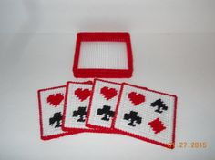 Playing card Coasters in Plastic canvas by SpyderCrafts on Etsy