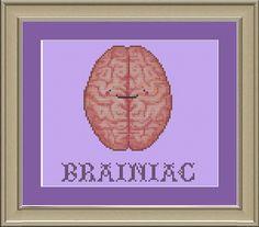 Brainiac funny human brain crossstitch by nerdylittlestitcher, $3.00