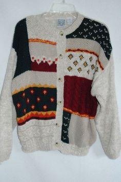 Womens Cardigan Sweater Sz Xlarge 14-16-18 Oatmeal Warm Fall | eBay