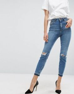ASOS FARLEIGH High Waist Slim Mom Jeans In Hawthorn Mid Stonewash with Busted Knees and Let-Down Hems