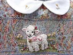 Reserved for Connie- final payment / Hand Smocked and Embroidered Girls Dress, Size 3/The Sheeps In The Meadow /