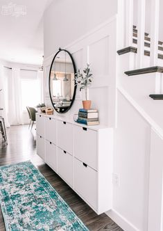 Small Entryway Makeover in a narrow hallway using Ikea Stall shoe storage and DIY board & batten – Revolution Narrow Hallway Decorating, Hallway Ideas Entrance Narrow, Foyer Decorating, Modern Hallway, Narrow Entryway, Front Hallway, Stairs And Hallway Ideas, Narrow Hallway Table, Small Entrance Halls