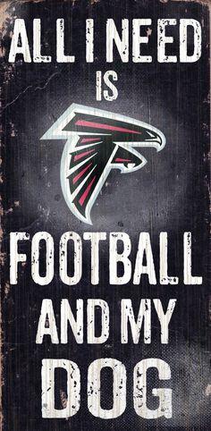 """Atlanta Falcons Wood Sign - Football and Dog 6""""x12"""""""