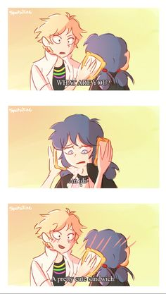 Miraculous Ladybug -- A pretty cute Sandwich by Spatziline Ladybug E Catnoir, Ladybug Comics, Lady Bug, Adrien Y Marinette, Miraculous Ladybug Fan Art, Cat Noir, Bugaboo, Cartoon Shows, Kids Shows