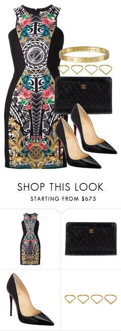 """Style #9019"" by vany-alvarado ❤ liked on Polyvore featuring Versace, Chanel, Christian Louboutin, Ana Khouri and Giallo"