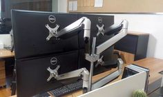 If you need to mount four monitors in one small space, check out Loctek's D7Q four arm mount!!! Great high end mount. Ideal for interior design projects for heavy computer users.