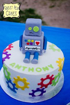 Robot Birthday by Sweet Pea Bithday Cake, Cupcake Birthday Cake, Cupcake Cakes, Cupcakes, 3rd Birthday, Birthday Ideas, Novelty Birthday Cakes, Novelty Cakes, Gateau Harry Potter