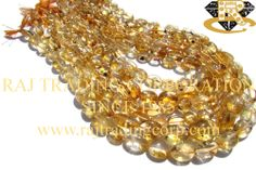 Citrine Smooth Oval (Quality D) Shape: Oval Smooth Length: 36 cm Weight Approx: 22 to 24 Grms. Size Approx: 6.5x8.5 to 10x13 mm Price $1.20 Each Strand