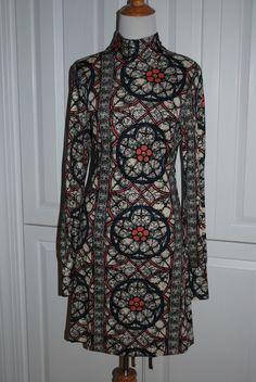 Anthropologie Dress (Pre-owned Nieves Lavi New York Blue Black Cream Multi Color Designer Dress)