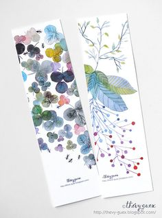 Pastel Blue Flower Botanical Art Watercolor Painting Paper Print Bookmarks Set of Two Floral Bookmarks