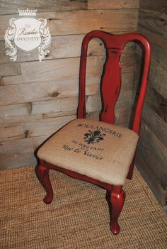 Beautiful Accent Chair done in #MaisonBlanchePaint Cerise and Dark Brown Wax w/ a French Stenciled Burlap Seat.  #ChalkPaint #ShabbyChic