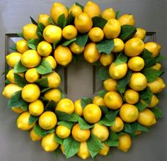 fake fruit wreath, maybe on a square form instead