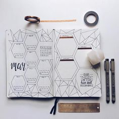 geometric bullet journal page inspo