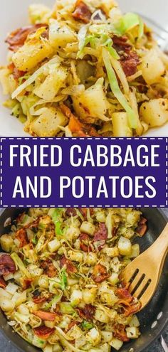 This is a really easy fried cabbage and potatoes recipe with crispy bacon. Only six ingredients and one pan needed. soup, recipes, rolls, pickled, ste… - New Site Fried Cabbage And Potatoes, Kielbasa And Potatoes, Fried Cabbage Recipes, Southern Fried Cabbage, Sauteed Cabbage, Cabbage And Bacon, Potato Recipes, Vegetable Recipes, Soup Recipes