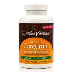Organic Curcumin Capsules, 120 count extracted from organically grown turmeric. Helps with inflammation and pain relief. Also a great detoxifier. Tumeric is definitely a superfood. There is added Bioperine to help with absorption. Visit GardenVibrance.com for more information!