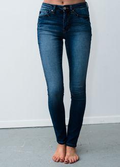 Plain Dark Denim Skinny Jeans   - Modern Vintage Boutique