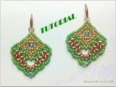 Tutorial beaded earrings with superduo Alicante. Bead tutorial - YouTube