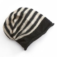 Sijjl Striped Slouchy Wool Beanie ($40) ❤ liked on Polyvore featuring accessories, hats, multicolor, colorful hats, wool hat, fleece lined wool hat, slouchy beanie cap and black and white hat