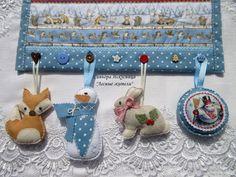 """Купить Новогоднее текстильное панно """"Лесные жители"""" - голубой, новогоднее панно, текстильное панно"""