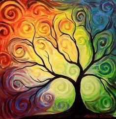 tree and rainbow sky